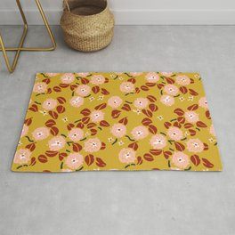 japanese Flowers mustard and rusty Rug