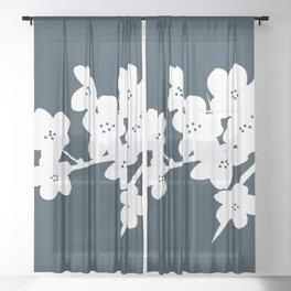 Plum Blossom Branch in White and Navy Blue . Floral Minimalism Sheer Curtain