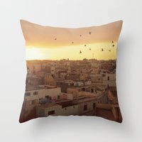 casablanca Throw Pillows featuring Casablanca by GF Fine Art Photography