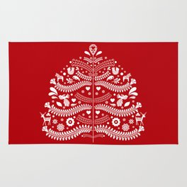 Scandinavian Folk Art Christmas Tree Rug