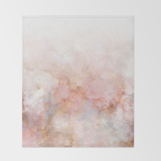 Beautiful Pink and Gold Ombre marble under snow by dominiquevari