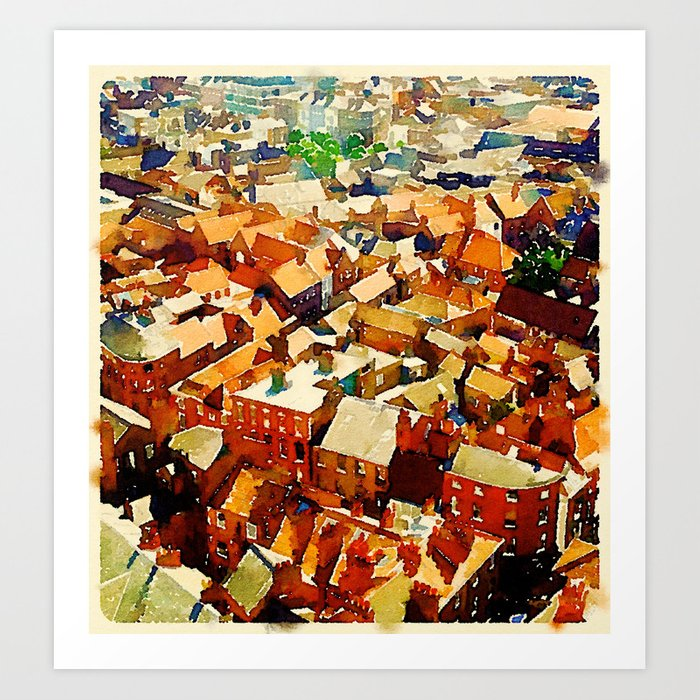 Rooftops in York Art Print
