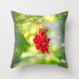 Red currant bunch Throw Pillow