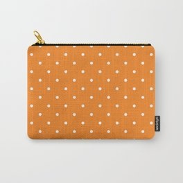 Small White Polka Dots with Orange Background Carry-All Pouch