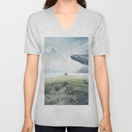 Marvelous Fairytale Giant Humpback Whale And Small Child Dreamy Seashore UHD Unisex V-Neck