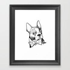 Bow Tie BostonTerrier Black and White Framed Art Print