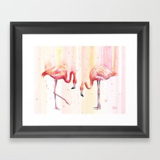 Two Flamingos Watercolor Tropical Birds Animals Framed Art Print