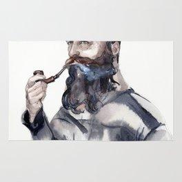 Brutal man sailor smoking a pipe Rug