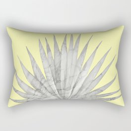 White Marble Fan Palm Leaf on Yellow Wall Rectangular Pillow