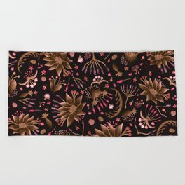 Botanical Seedpod Floral Watercolor Purple , Lilac Brown Flowers Beach Towel