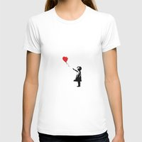 banksy T-shirts featuring Banksy Girl with Ballooon reproduction by canvas your life