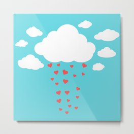 Rain drops of red hearts in the blue sky  Metal Print