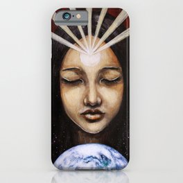 Shine Your Light for the World to See // Visionary Art Spirit Soul Consciousness Chakra Third Eye iPhone Case