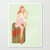 eugenia loli Canvas Prints featuring Pin up Loli by PristinM