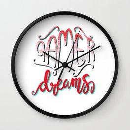 Gamer Dreams Gaming Video Game illustration Girls Women Wall Clock