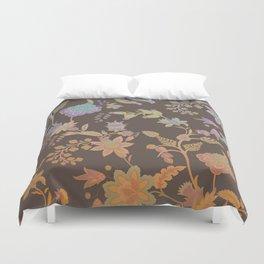 Chateau Brown Chinoiserie Decorative Floral Motif Chintz Duvet Cover