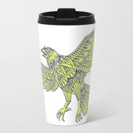 Common Raven Flying Mandala Travel Mug