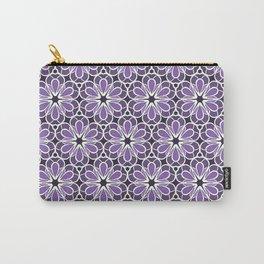 Symmetric Flower Pattern in Purple Carry-All Pouch