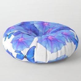 BLUE MORNING GLORIES & BLUE BUTTERFLY GARDEN Floor Pillow