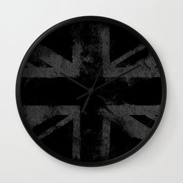 Grey Grunge UK flag Wall Clock