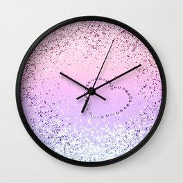 Sparkling UNICORN Girls Glitter Heart #1 #shiny #pastel #decor #art #society6 Wall Clock