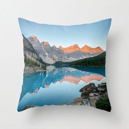 MORAINE LAKE SUNRISE CANADIAN ROCKIES BANFF NATIONAL PARK CANADA LANDSCAPE Throw Pillow