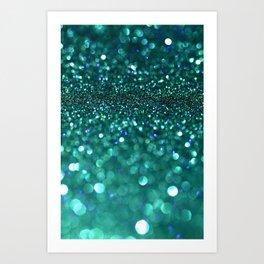 turquoise glitter Art Print