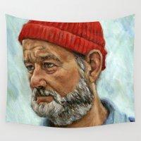 murray Wall Tapestries featuring Bill Murray / Steve Zissou by Heather Buchanan