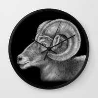 ram Wall Clocks featuring Ram by Tim Jeffs Art