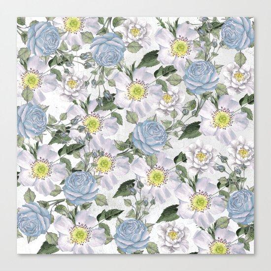 Vintage Roses Blue Canvas Print