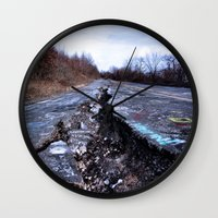 silent hill Wall Clocks featuring Trial Through Silent Hill by Julie Maxwell