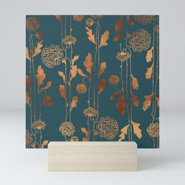 Art Deco Copper Flowers  Mini Art Print