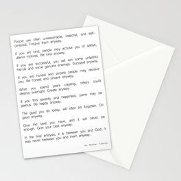 Do It Anyway by Mother Teresa 2 #minimalism #inspirational Stationery Cards