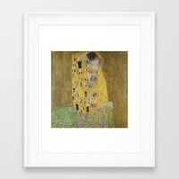 gustav klimt Framed Art Prints featuring Gustav Klimt The Kiss by Artlala for MSF Doctors Without Borders
