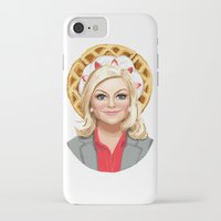 leslie knope iPhone & iPod Cases featuring Leslie Knope, Goddess of Girl Power & Waffles by Kirsten Sevig