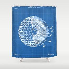 Golf Ball Patent - Golfer Art - Blueprint Shower Curtain