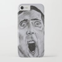 nicolas cage iPhone & iPod Cases featuring NICOLAS CAGE in CHARCOAL face/off face off film movie cult by Radiopeach