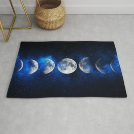 Phases of the Moon Blue Rug