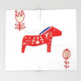 Dala horse white Throw Blanket