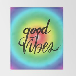 Good Vibes - Rainbow Pride Throw Blanket