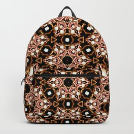 Black Pink and Gold Beadwork Inspired Print Backpack
