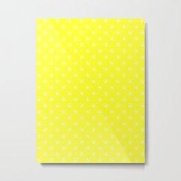 White on Electric Yellow Snowflakes Metal Print