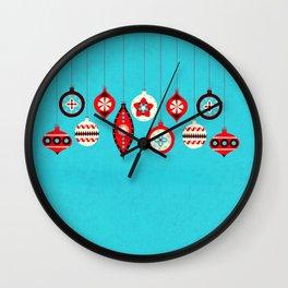 Retro Christmas Baubles Wall Clock