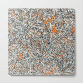 monstera leaves orange Metal Print