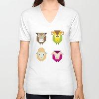 farm V-neck T-shirts featuring geometric farm by Fairytale ink
