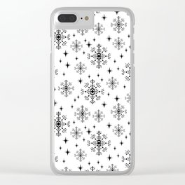 Snowflakes winter christmas minimal holiday black and white decor gifts Clear iPhone Case