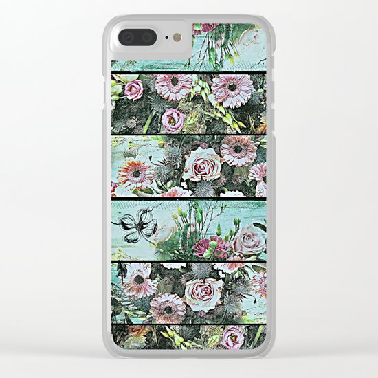 Romantic Rococo wood panel Clear iPhone Case