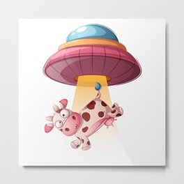 Funny Cow Is being Kidnapped By UFO Metal Print