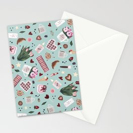 Green Blue Pastel Valentine Pattern Stationery Cards