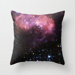 Pink Cosmic Star Galaxy Throw Pillow